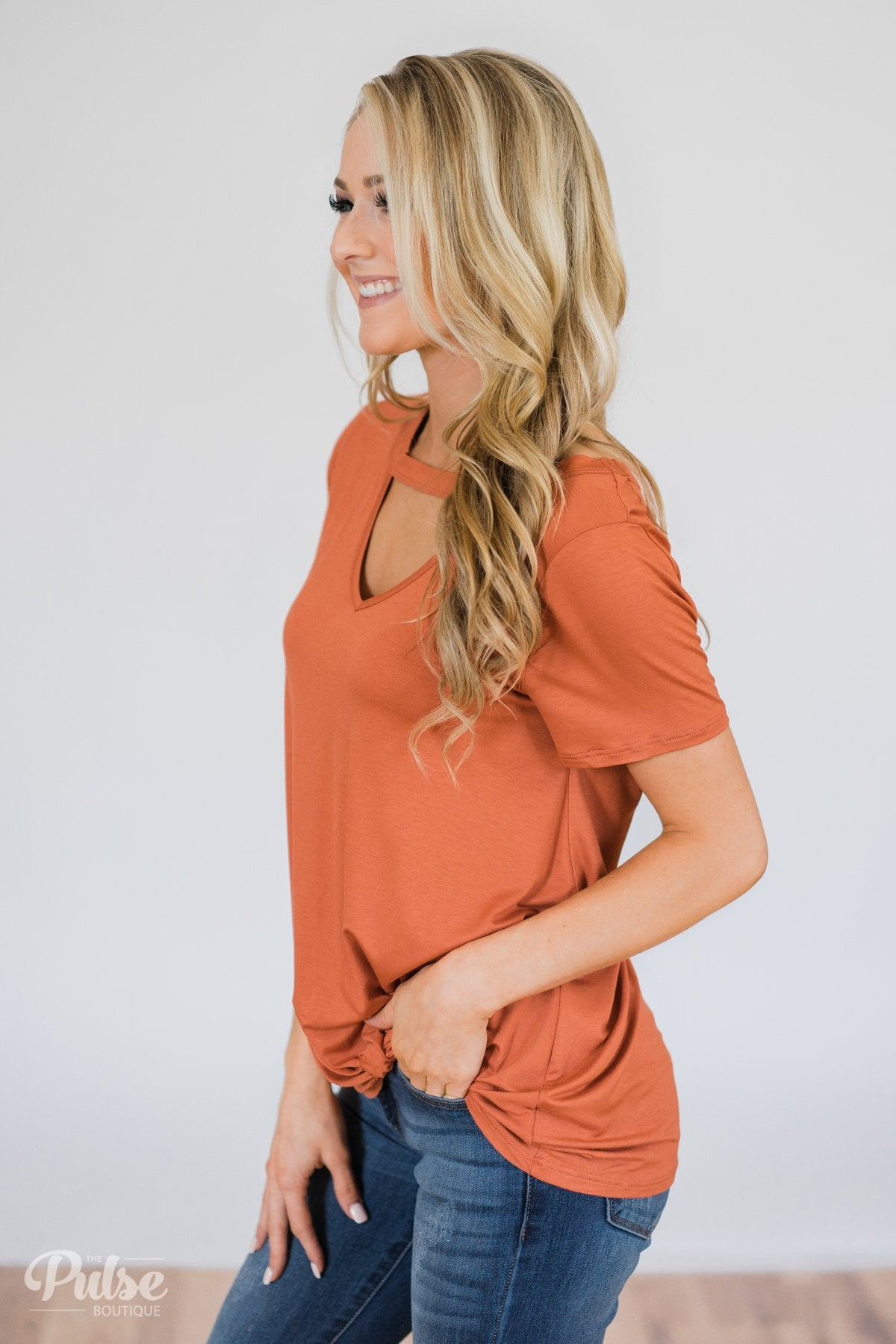As If Short Sleeve Knot Top- Rust