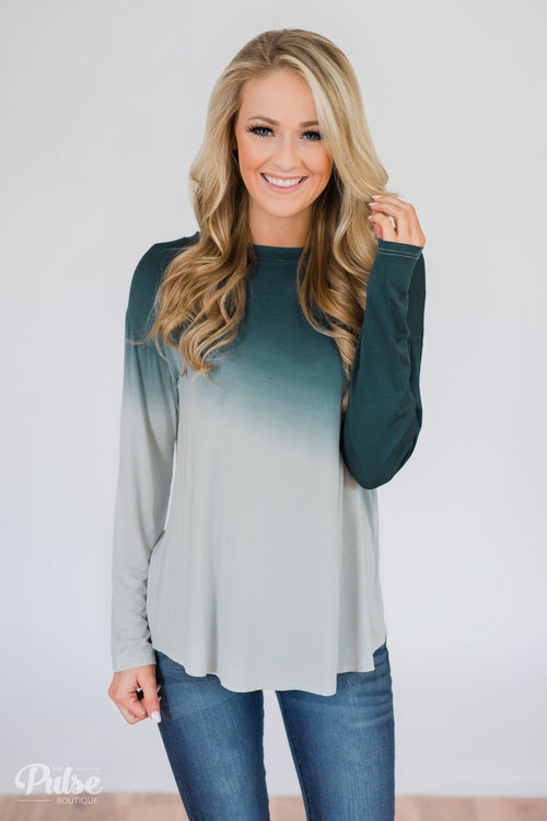 Taking it Easy Ombre Long Sleeve Top- Blue