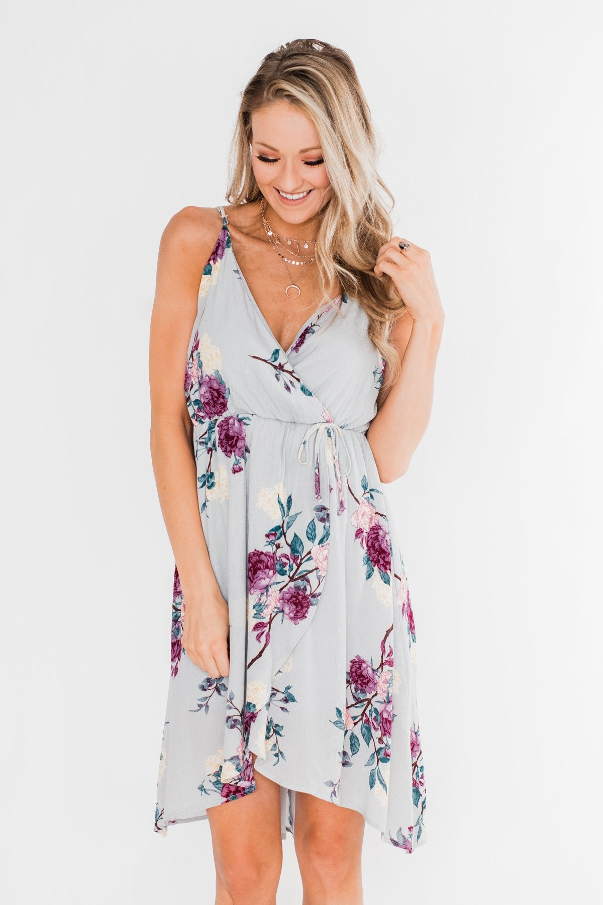I Carry Your Love With Me Floral Dress- Dusty Blue