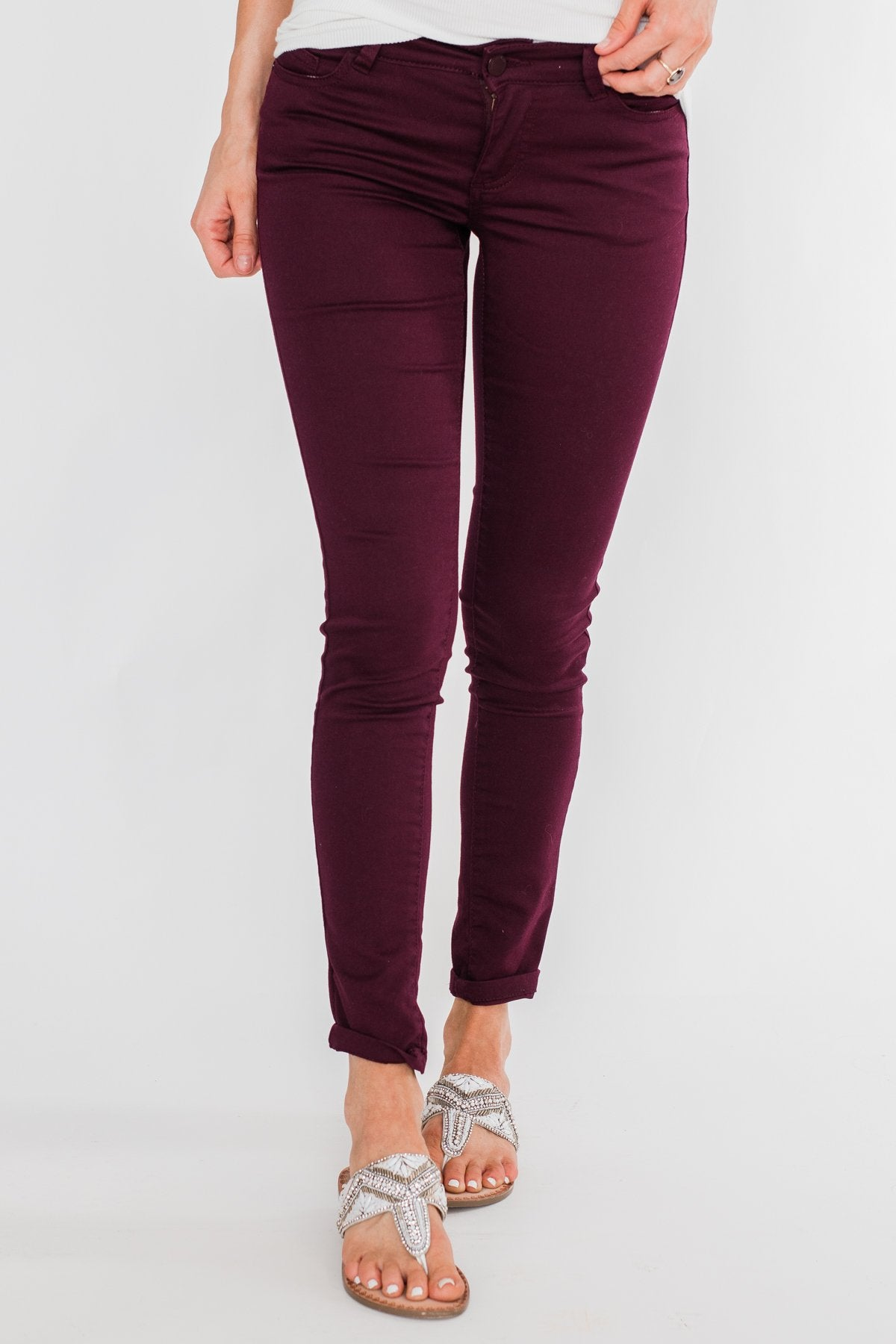 Kan Can Skinny Jeans- Black Side Ankle Zipper