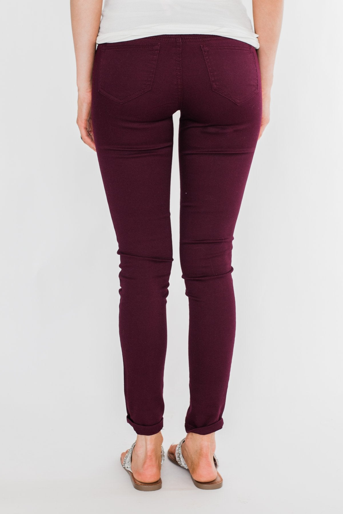 C'est Toi Non Distressed Colored Skinnies- Dark Burgundy