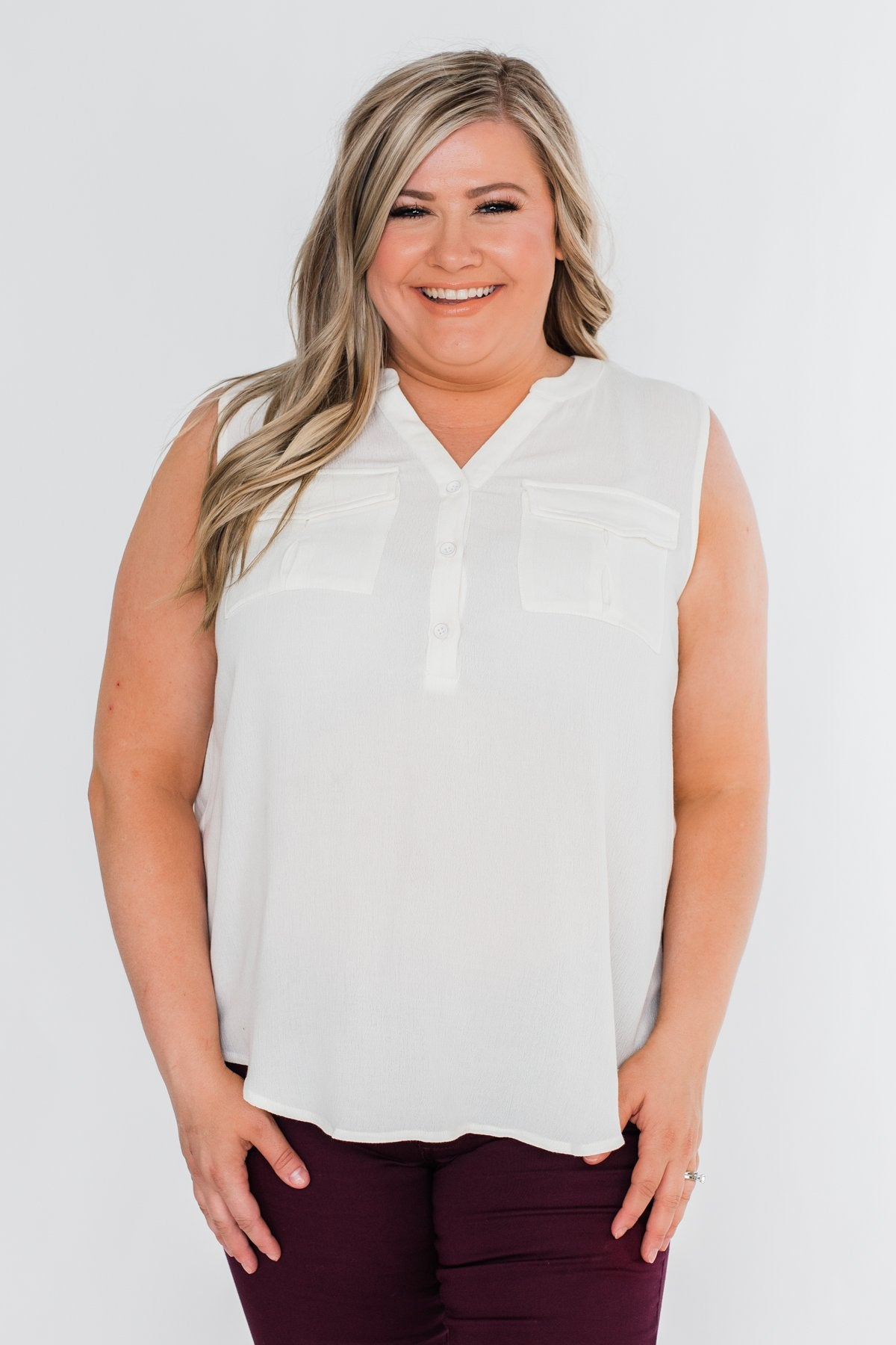I Love Everything 3 Button Top- Ivory
