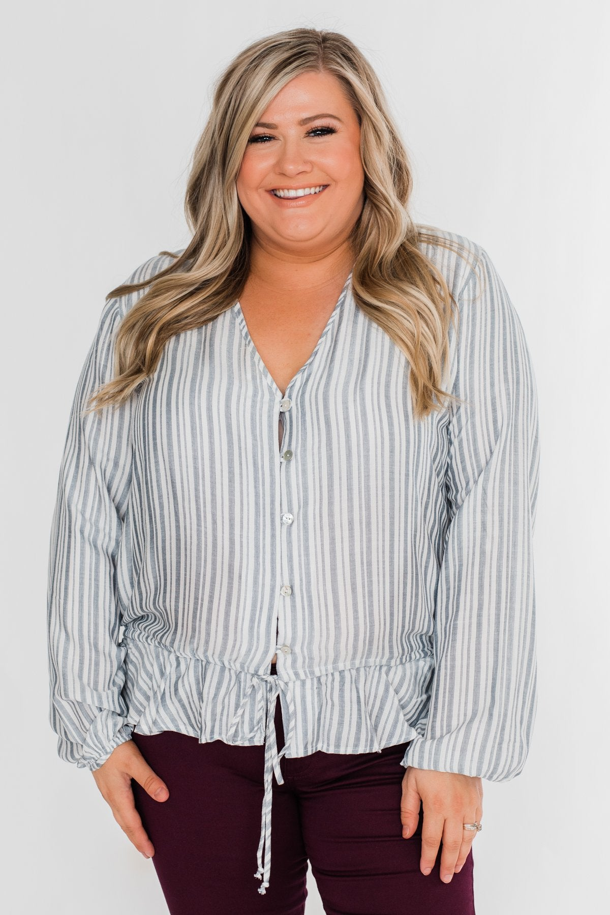 Get To You Striped Blouse- Ivory & Denim Blue