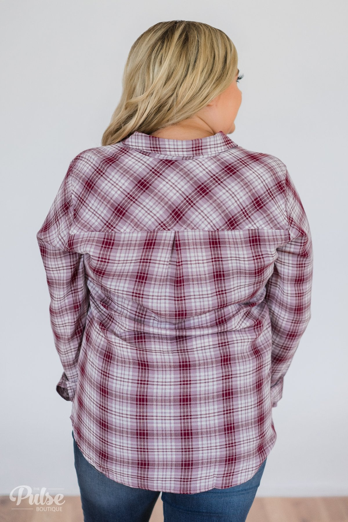 Button Up Plaid Top- Ivory & Wine