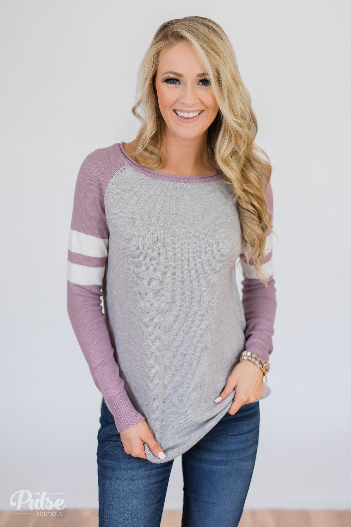 Comfy Color Block Pullover Sweater- Lavender