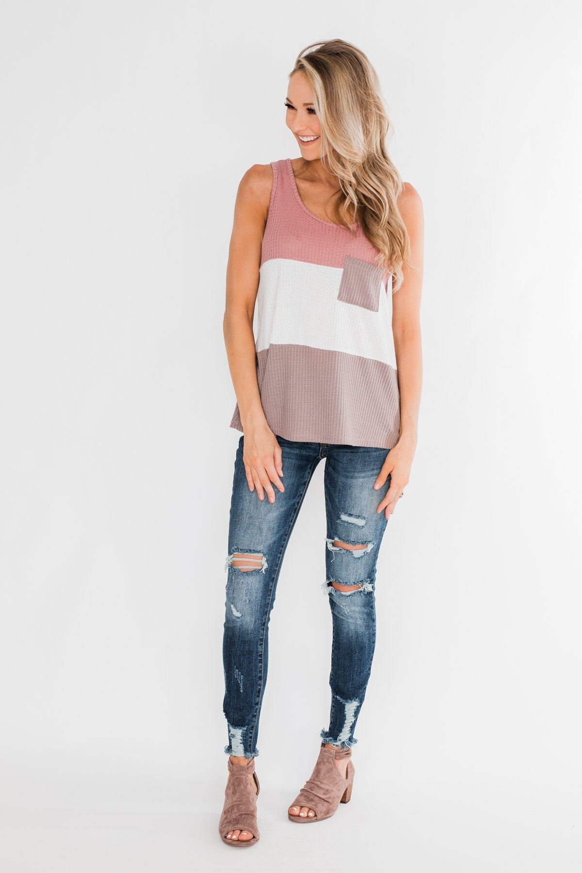 Waffle Knit Color Block Tank Top- Dusty Pink, Ivory, & Mocha