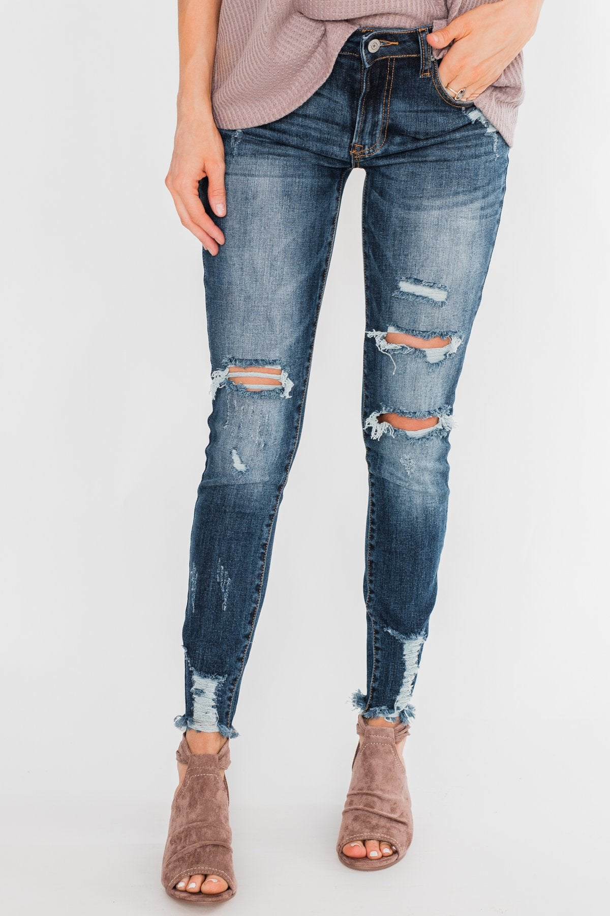 C'est Toi Distressed Skinny Jeans- Fiona Dark Wash