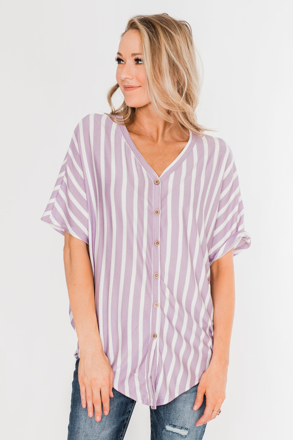 Calling The Shots Striped Dolman Top- Lavender