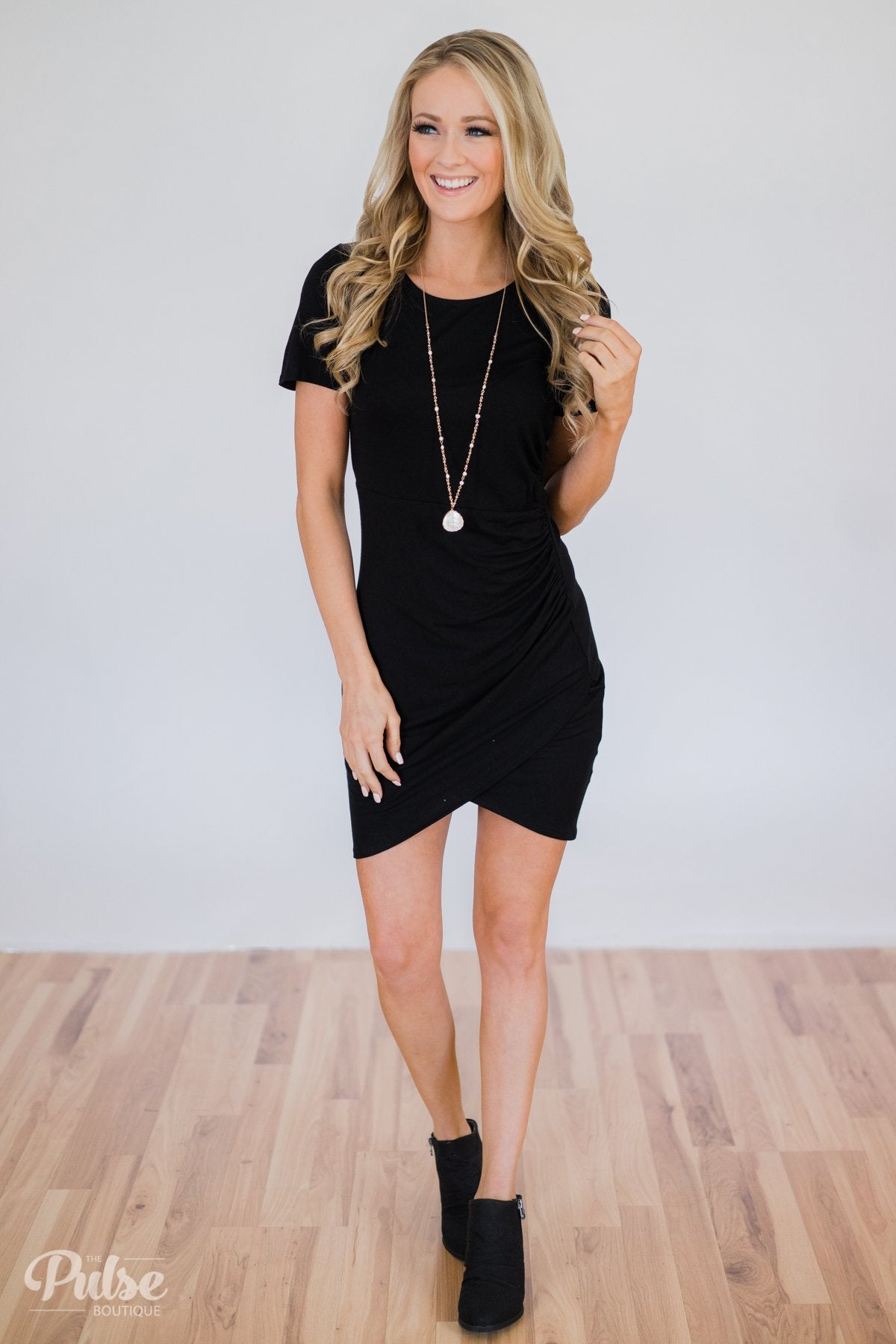 Somewhere Tonight Short Sleeve Dress- Solid Black