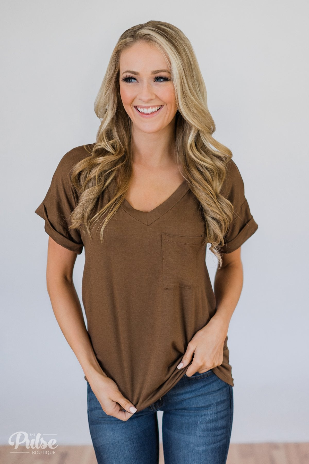 The Perfect Pocket Tee - Brown