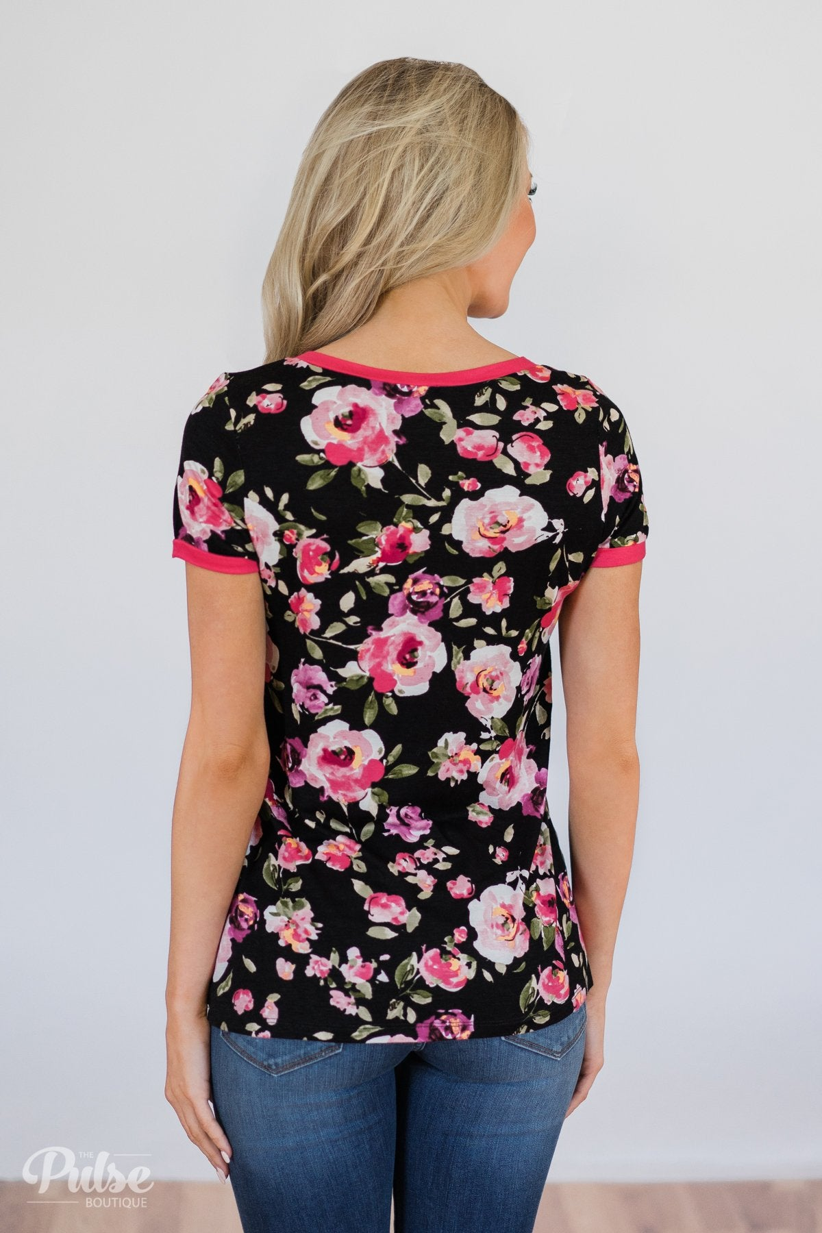 Borrow my Heart Floral V-Neck Pocket Top- Black