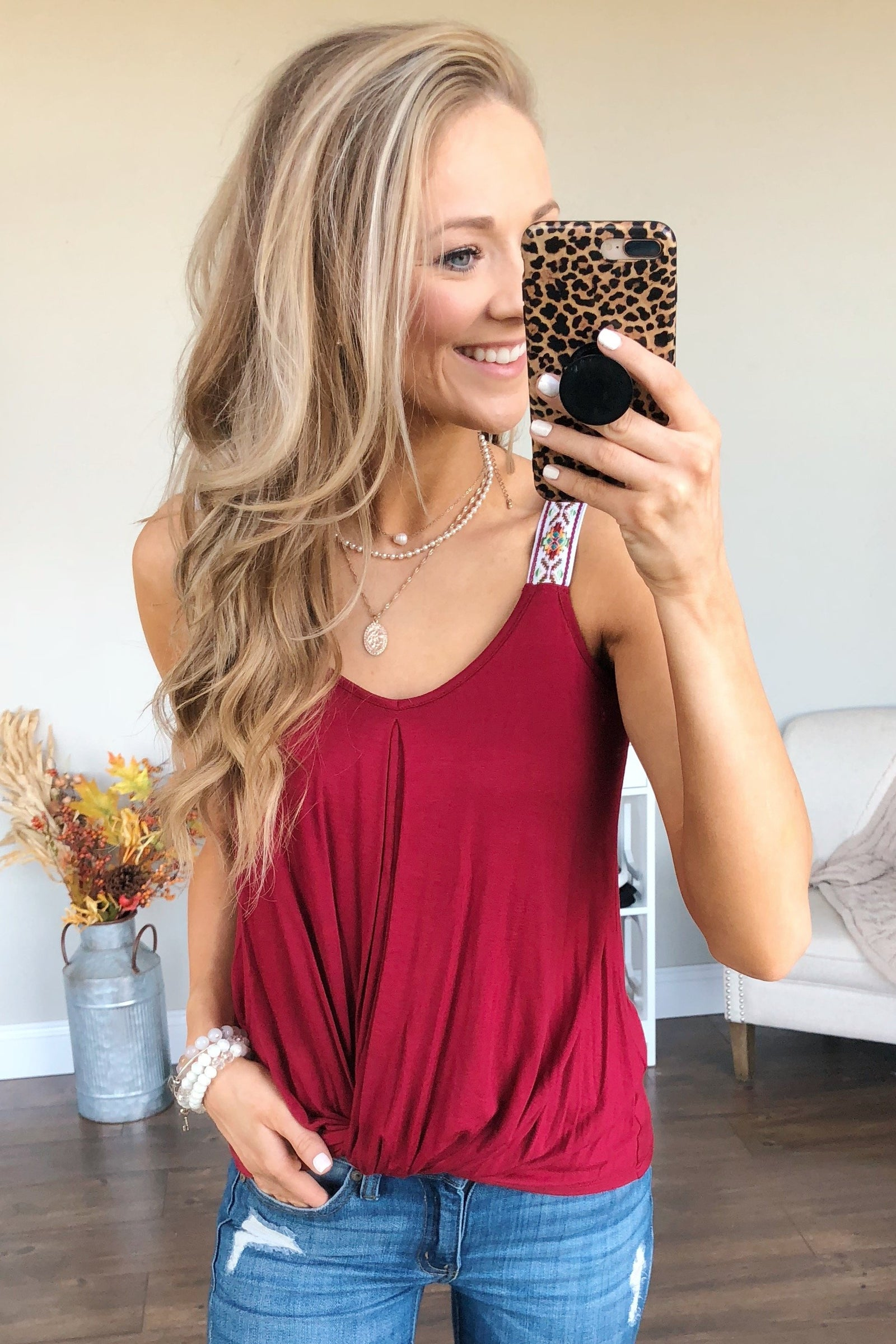 Somewhere Next To You Twist Tank Top- Burgundy