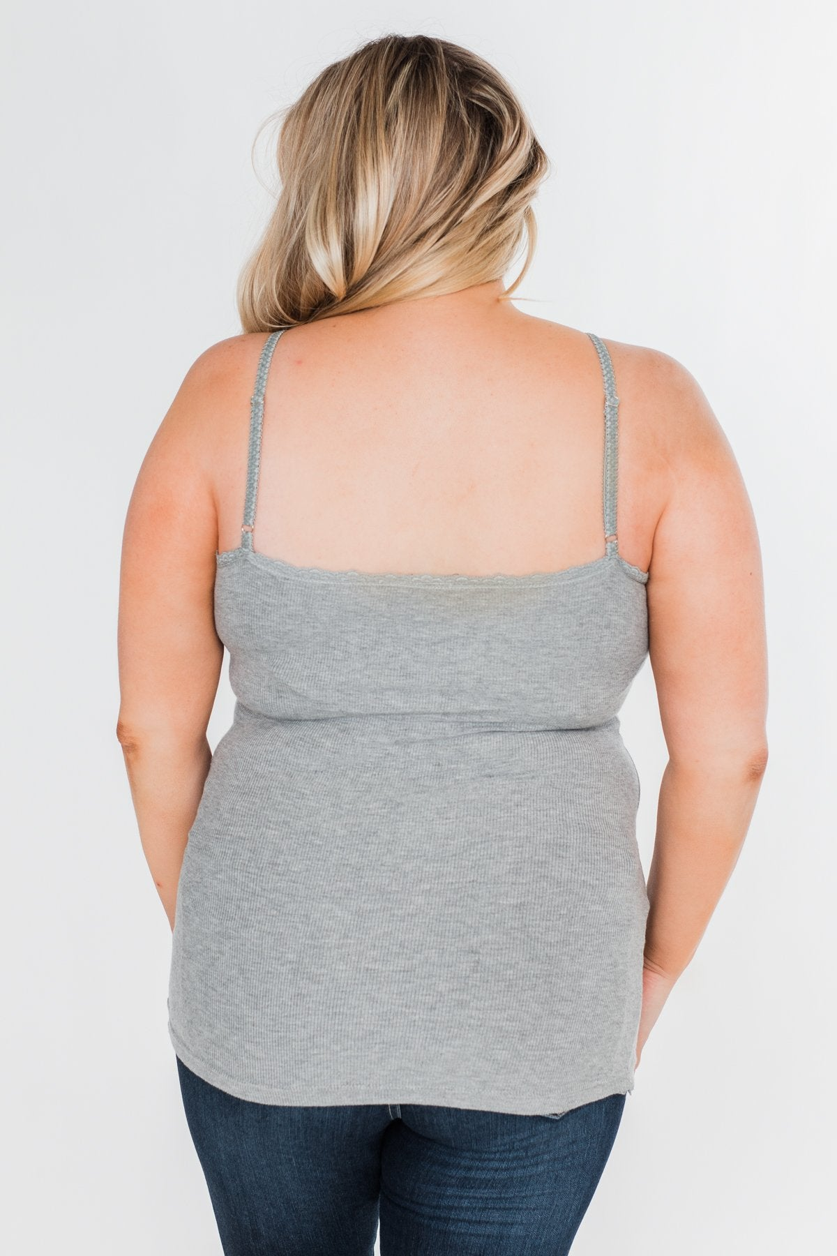 Pulse Basics Lace Trim Button Tank- Grey