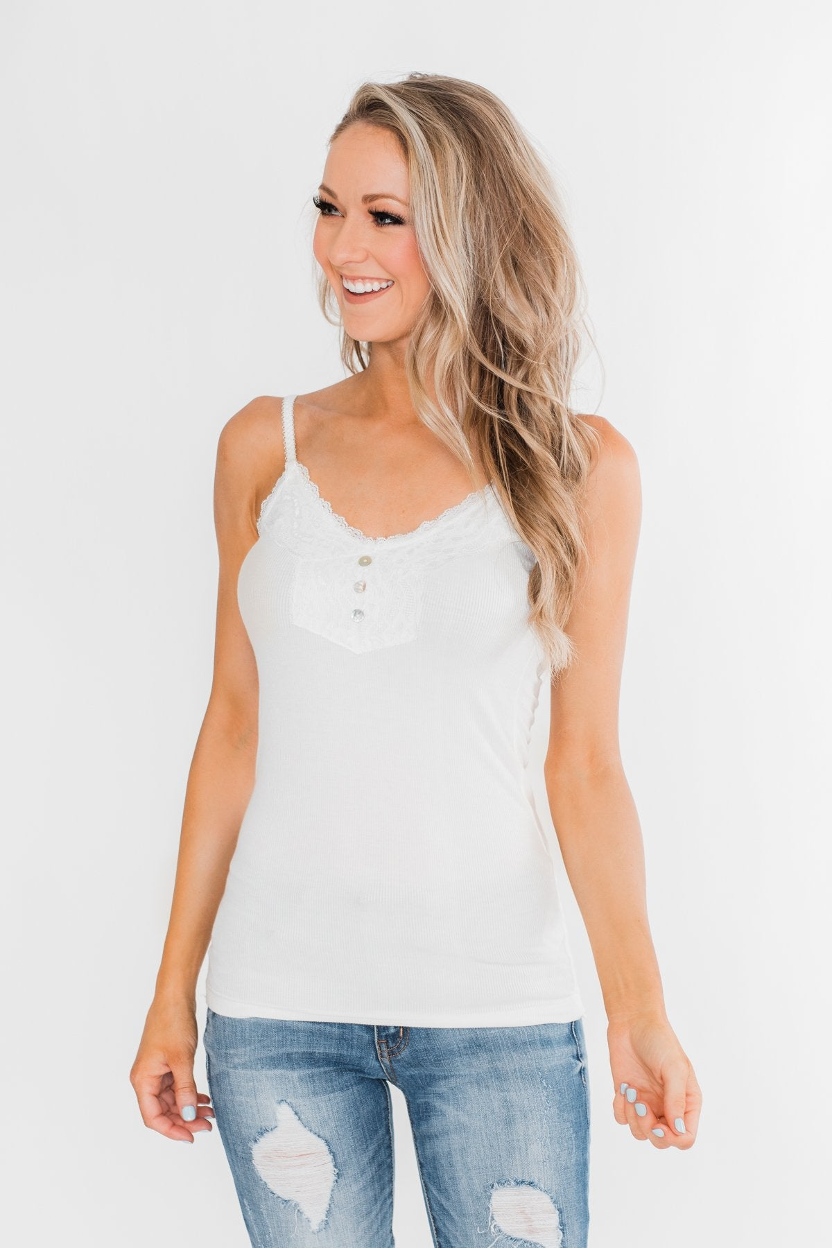 Pulse Basics Lace Trim Button Tank- White