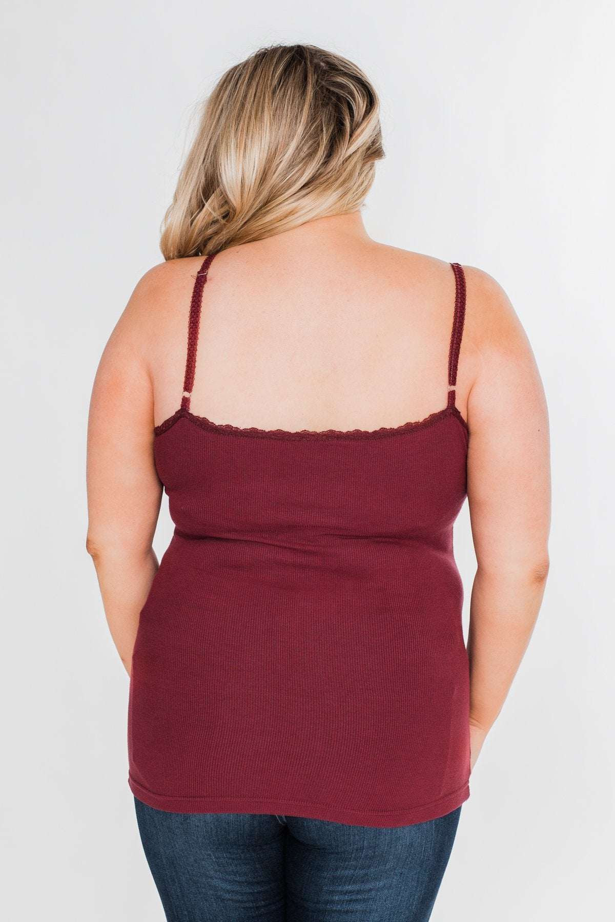 Pulse Basics Lace Trim Button Tank- Burgundy