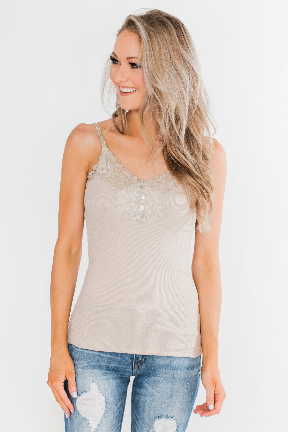 Pulse Basics Lace Trim Button Tank- Neutral