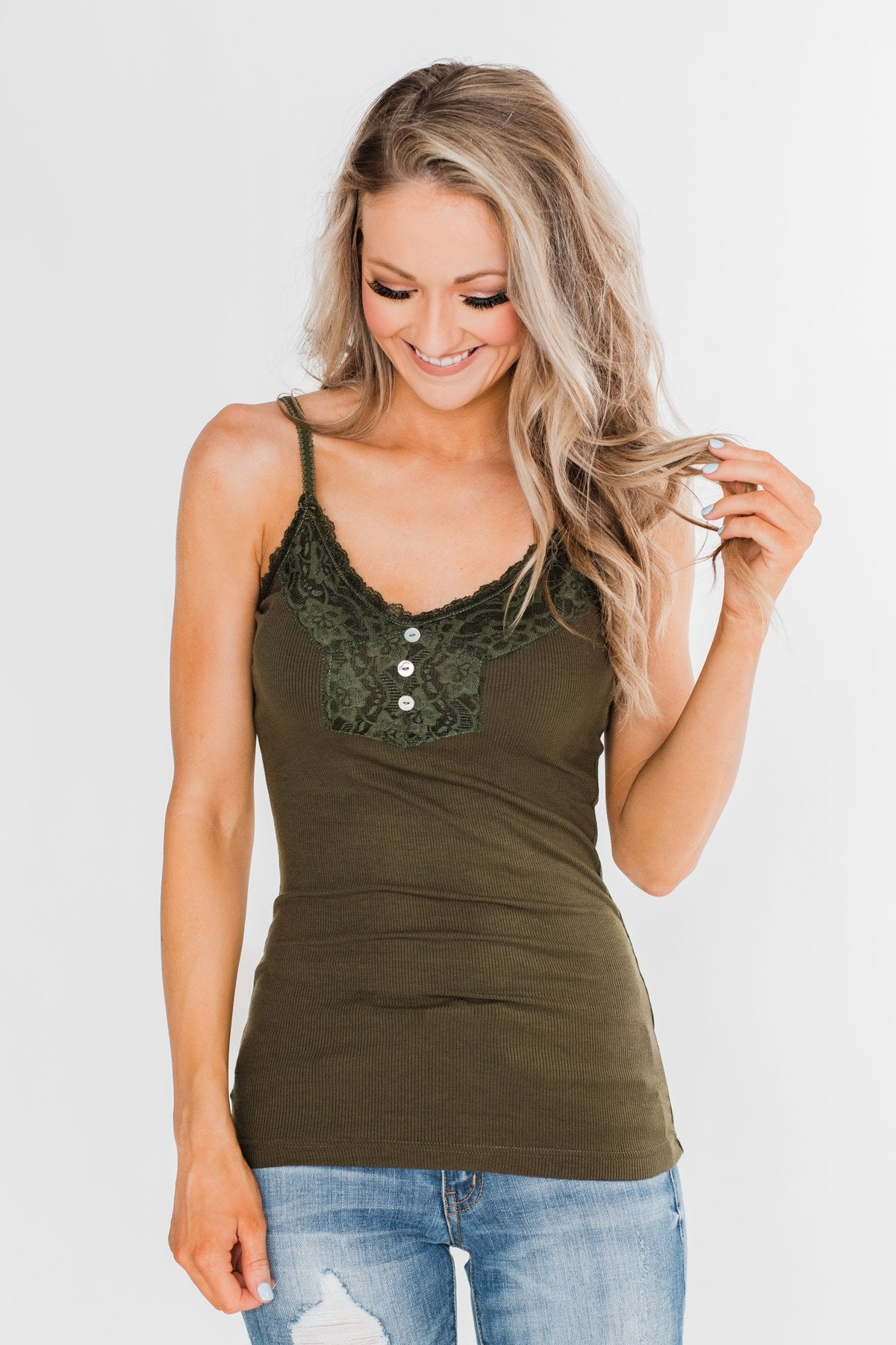 Pulse Basics Lace Trim Button Tank- Olive