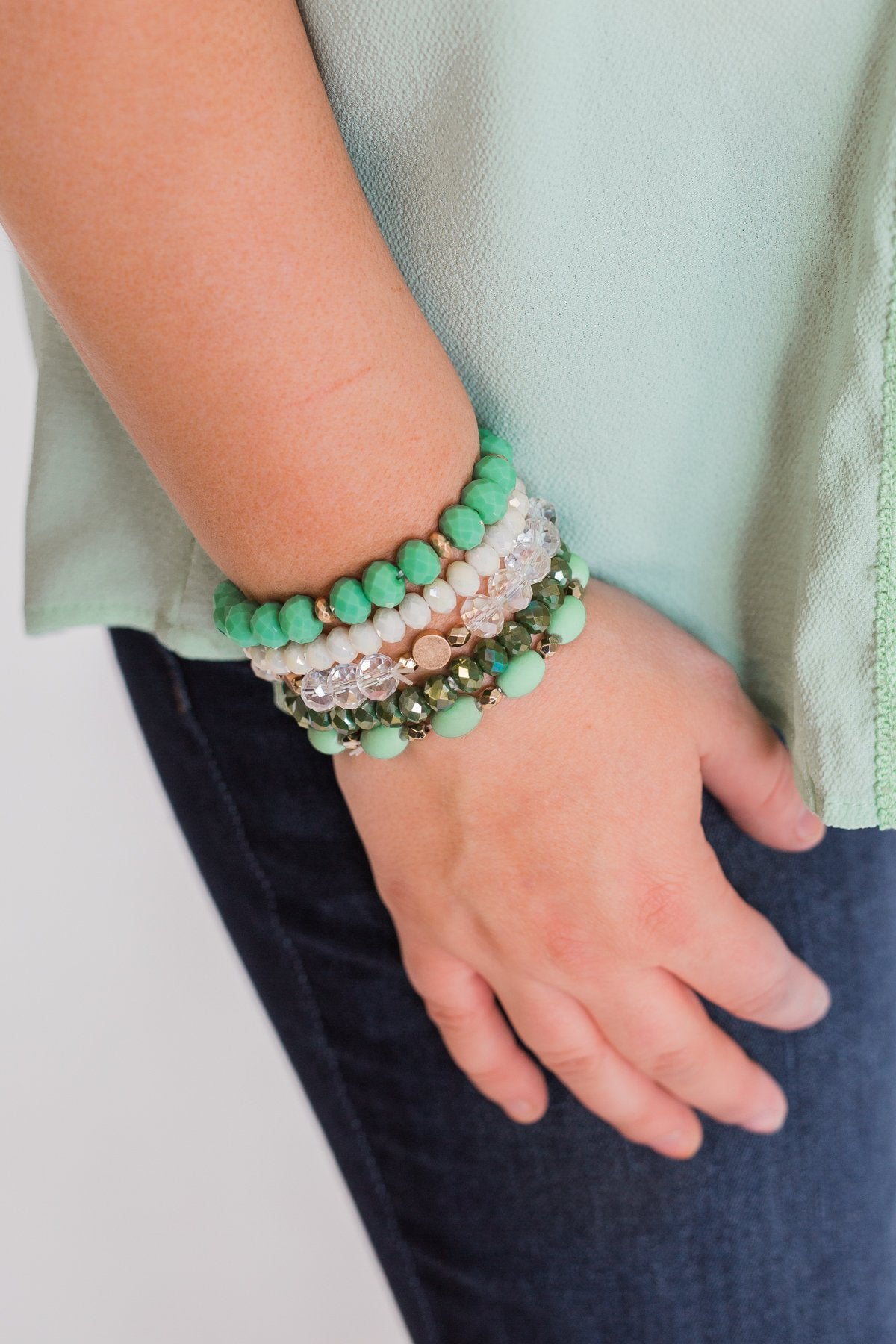 Shades of Green Beaded Bracelet Set