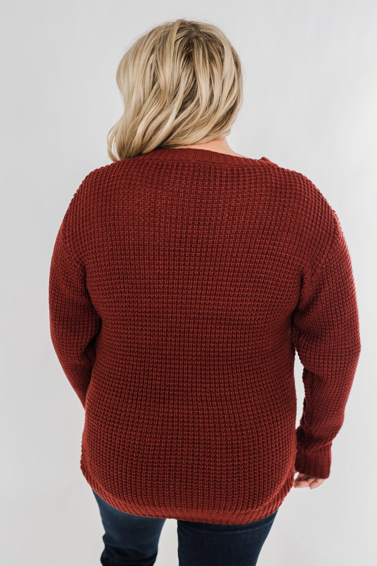 First Look Thick Knit Sweater- Deep Brick