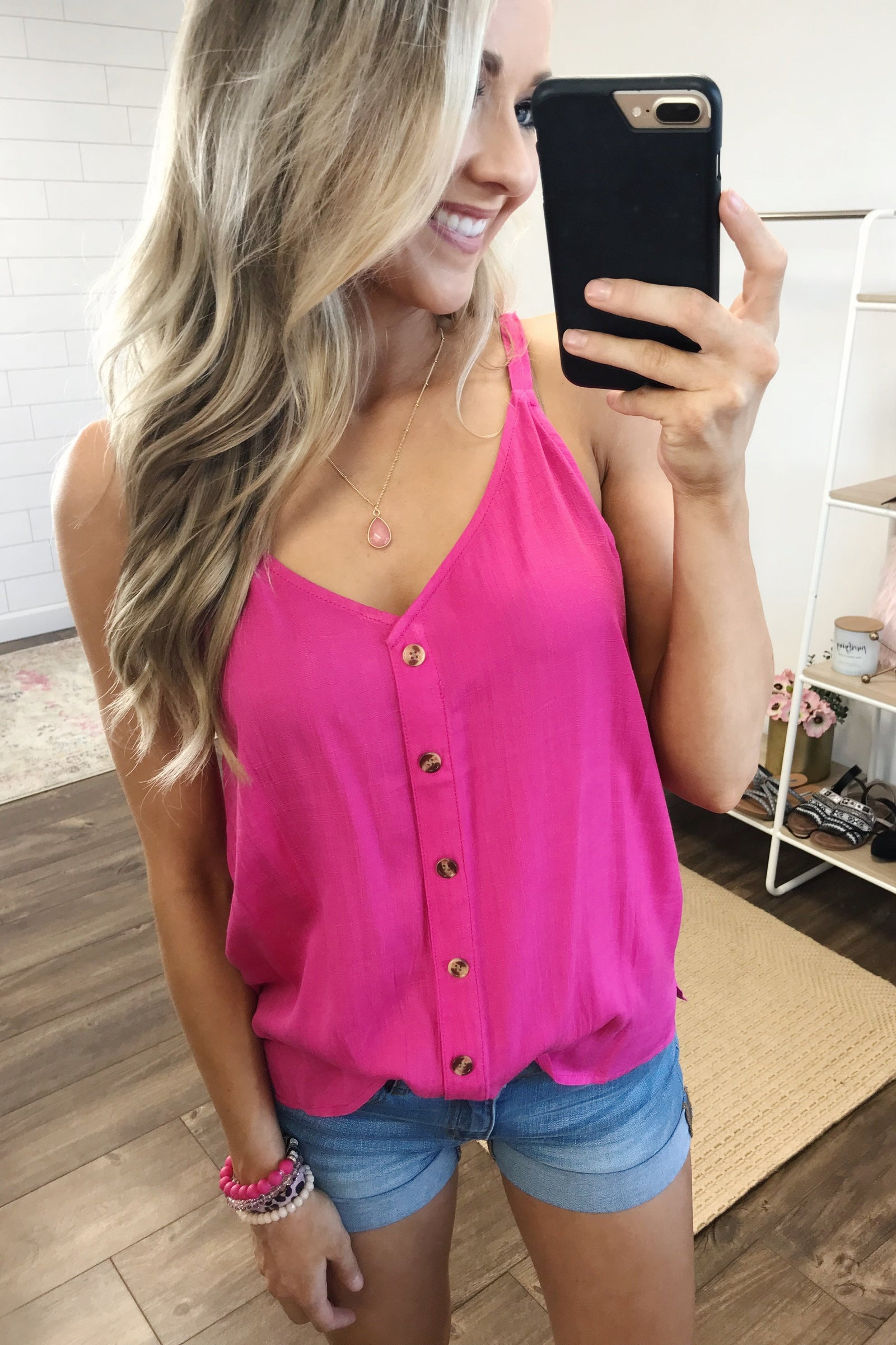 Always Choose You Button Tank Top- Hot Pink