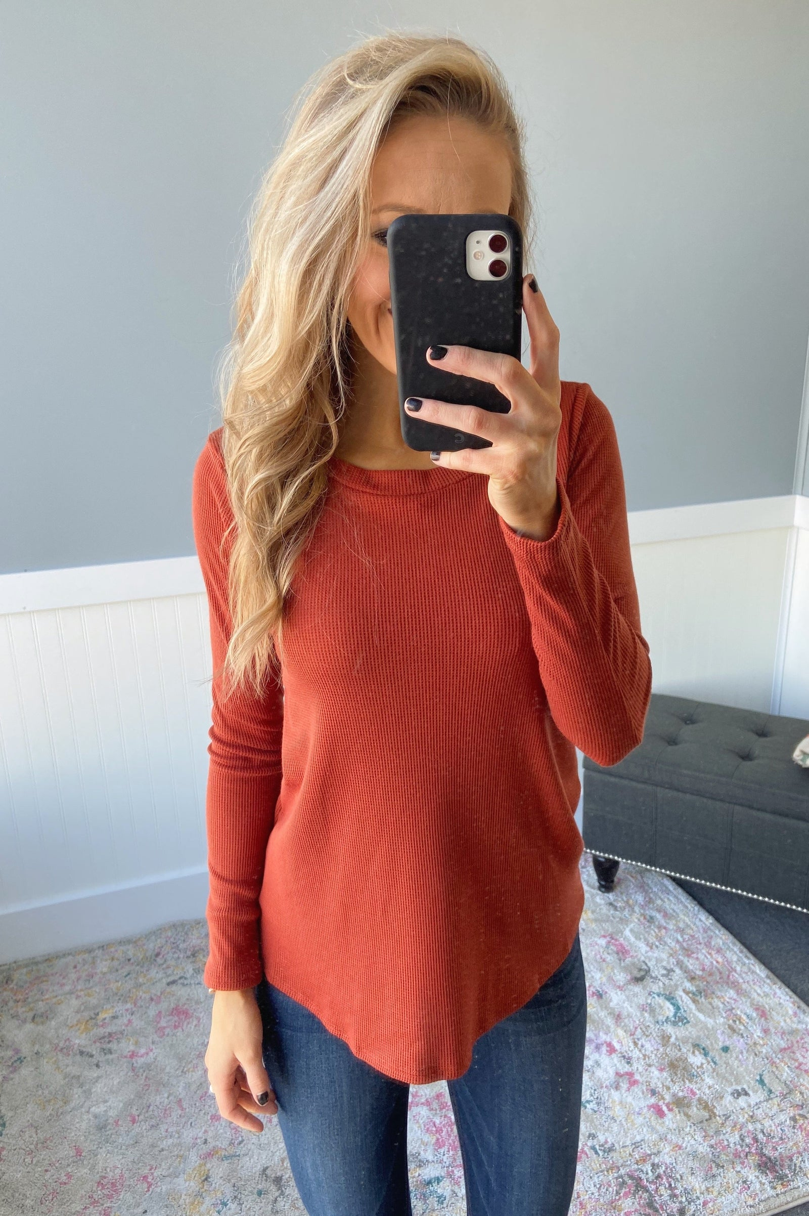 The Best I can Long Sleeve Top- Burnt Orange
