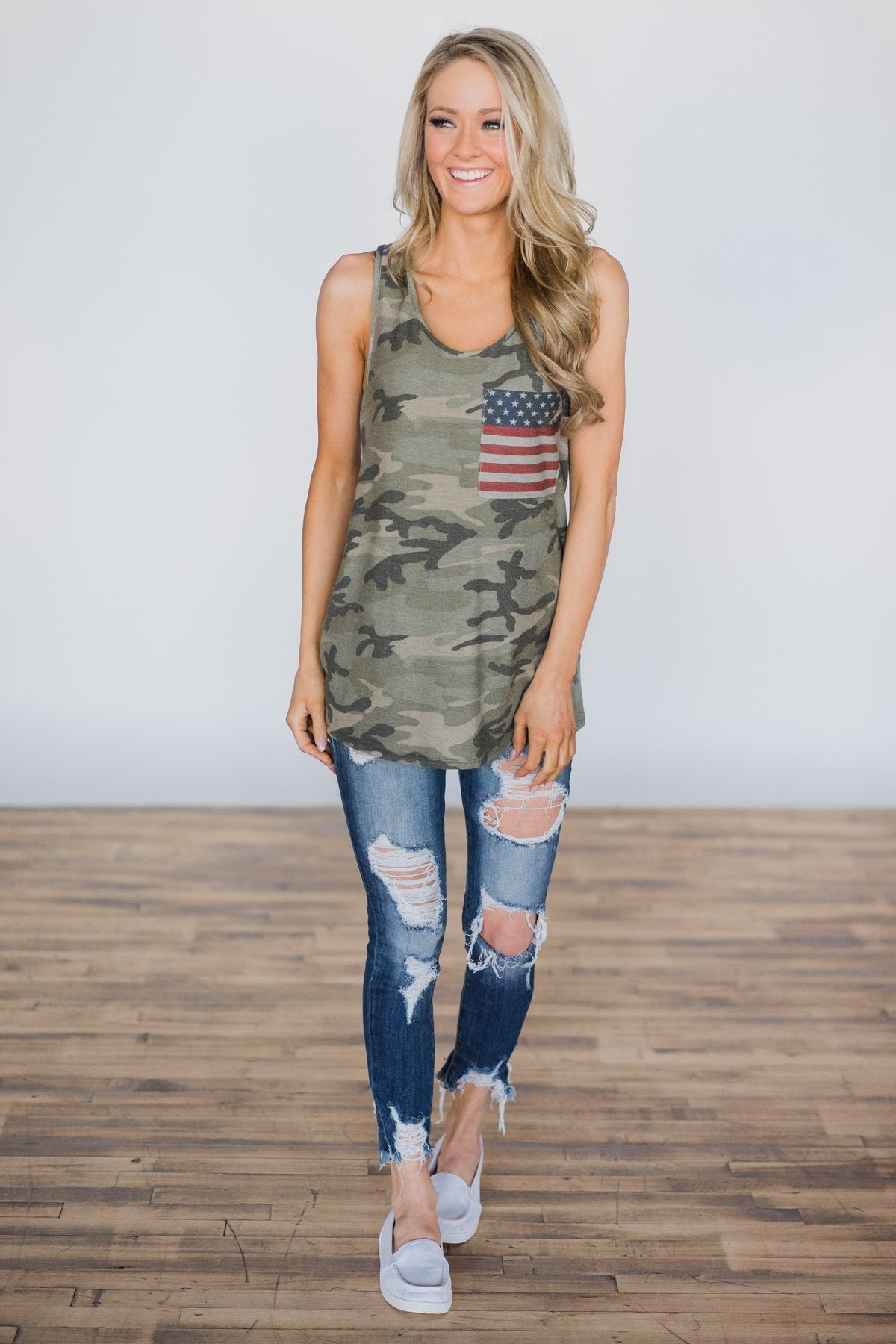 Camo Dreams Flag Pocket Tank