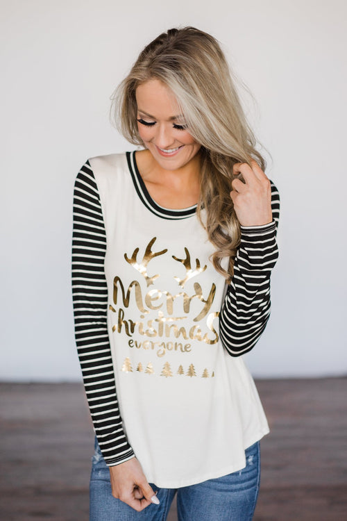 """Merry Christmas Everyone"" Black Striped Top"