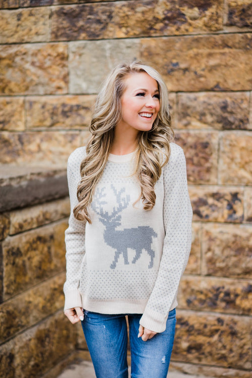 Holly Jolly Sweater ~ Cream & Silver