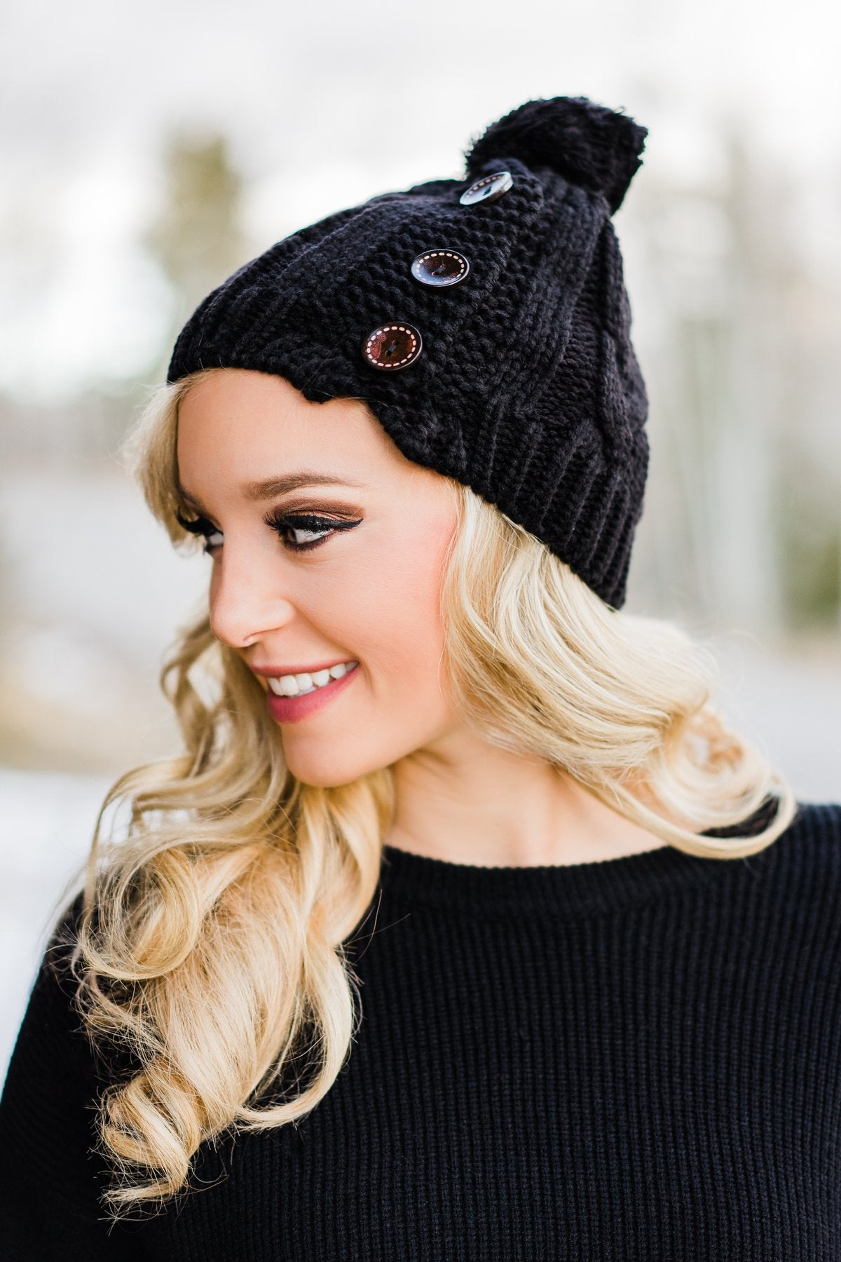 Black 3 Button Beanie