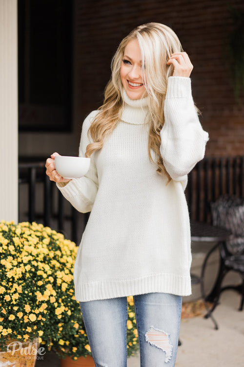 Bunch of Love Turtleneck Knitted Sweater- Ivory
