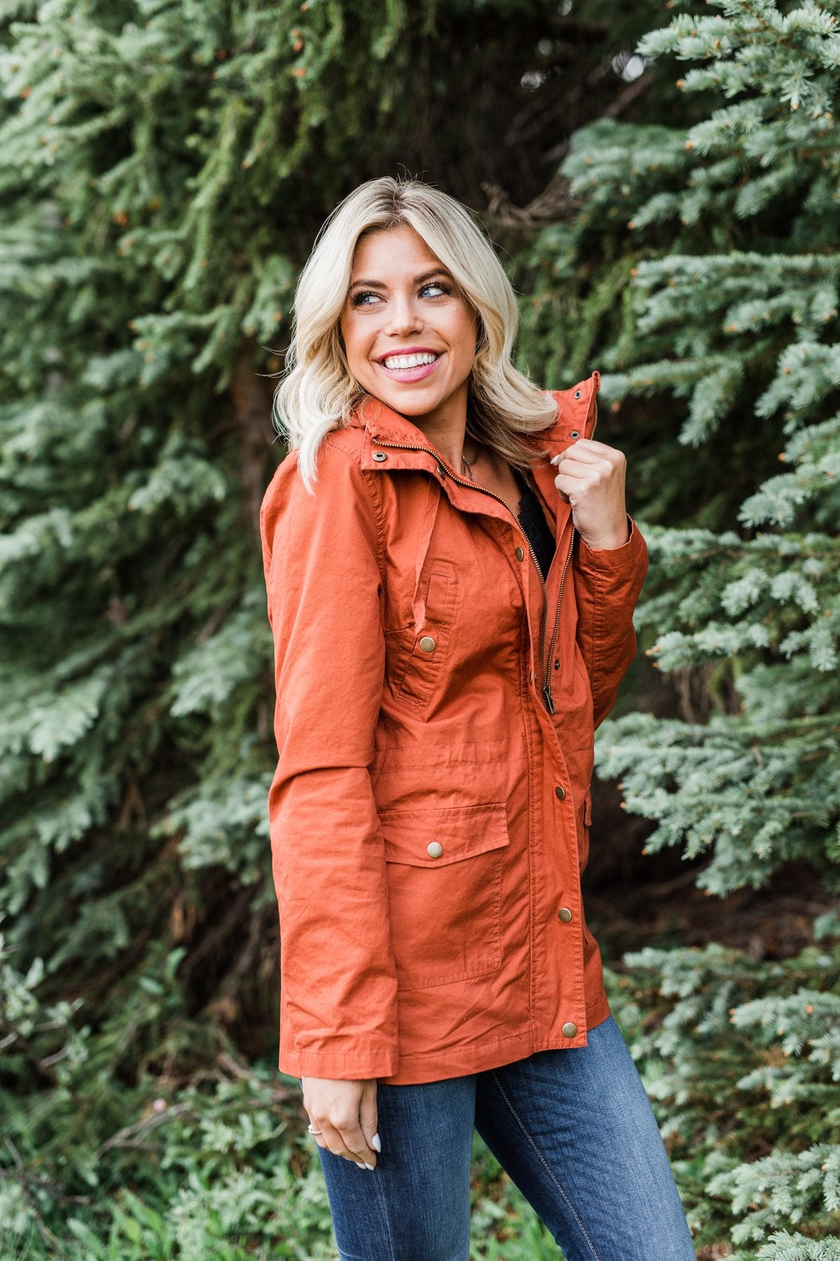 Flannel Lined Hood Utility Jacket -Rust