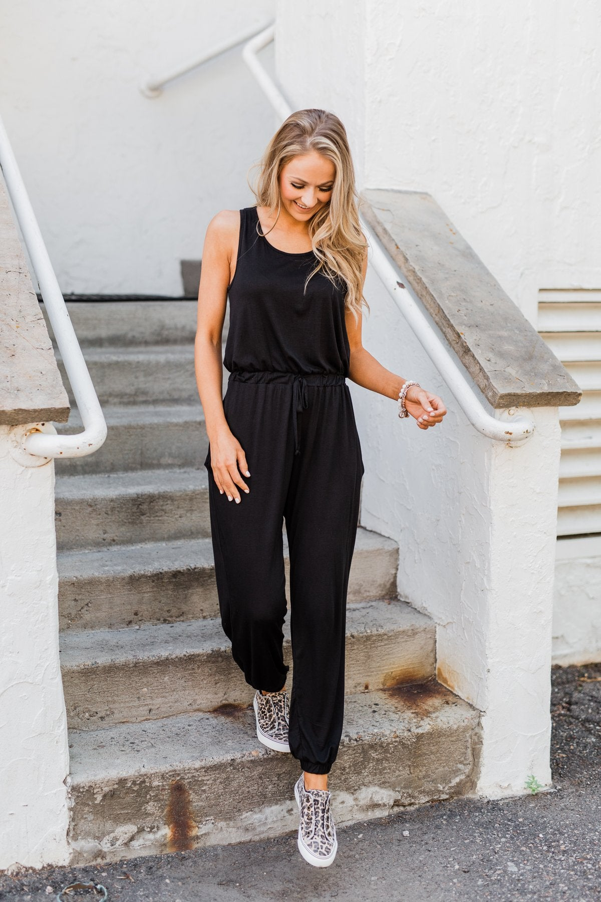 Day To Day Sleeveless Jumpsuit- Black