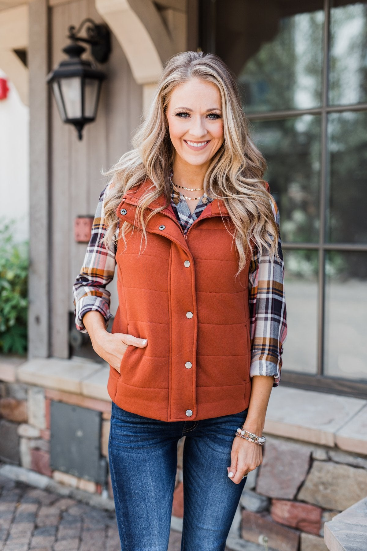 The Perfect Puffer Vest- Burnt Orange