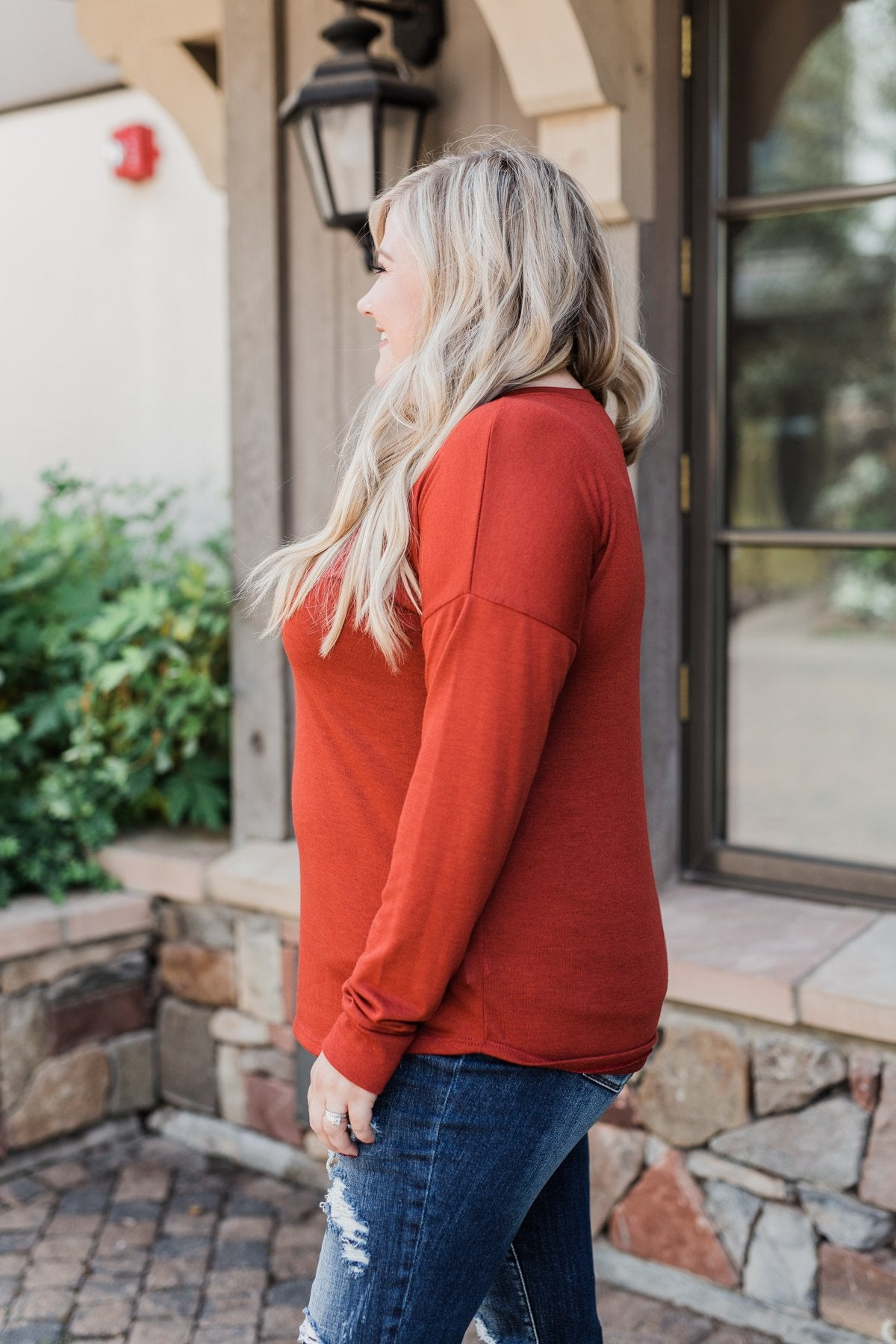 Cozy & Warm 4 Button Henley Top- Rust