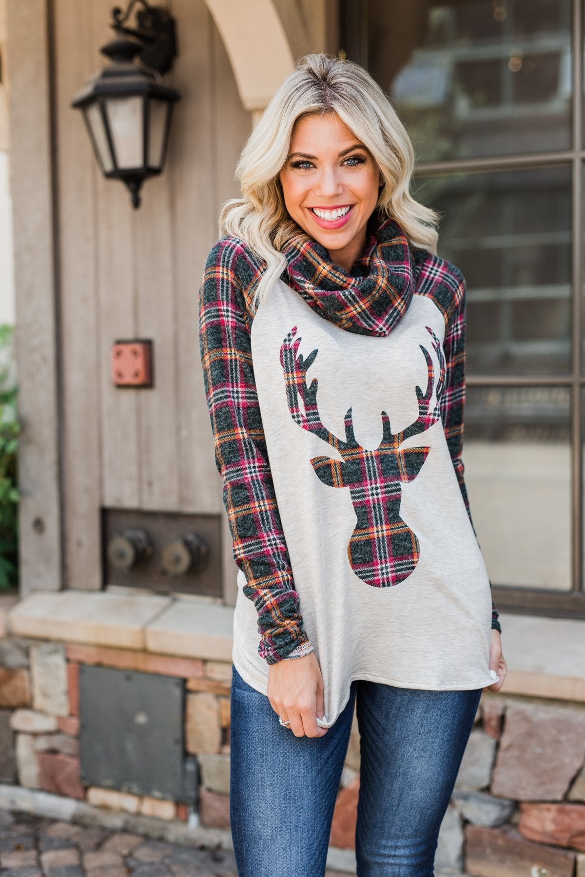 Plaid Reindeer Cowl Neck Top- Oatmeal & Green