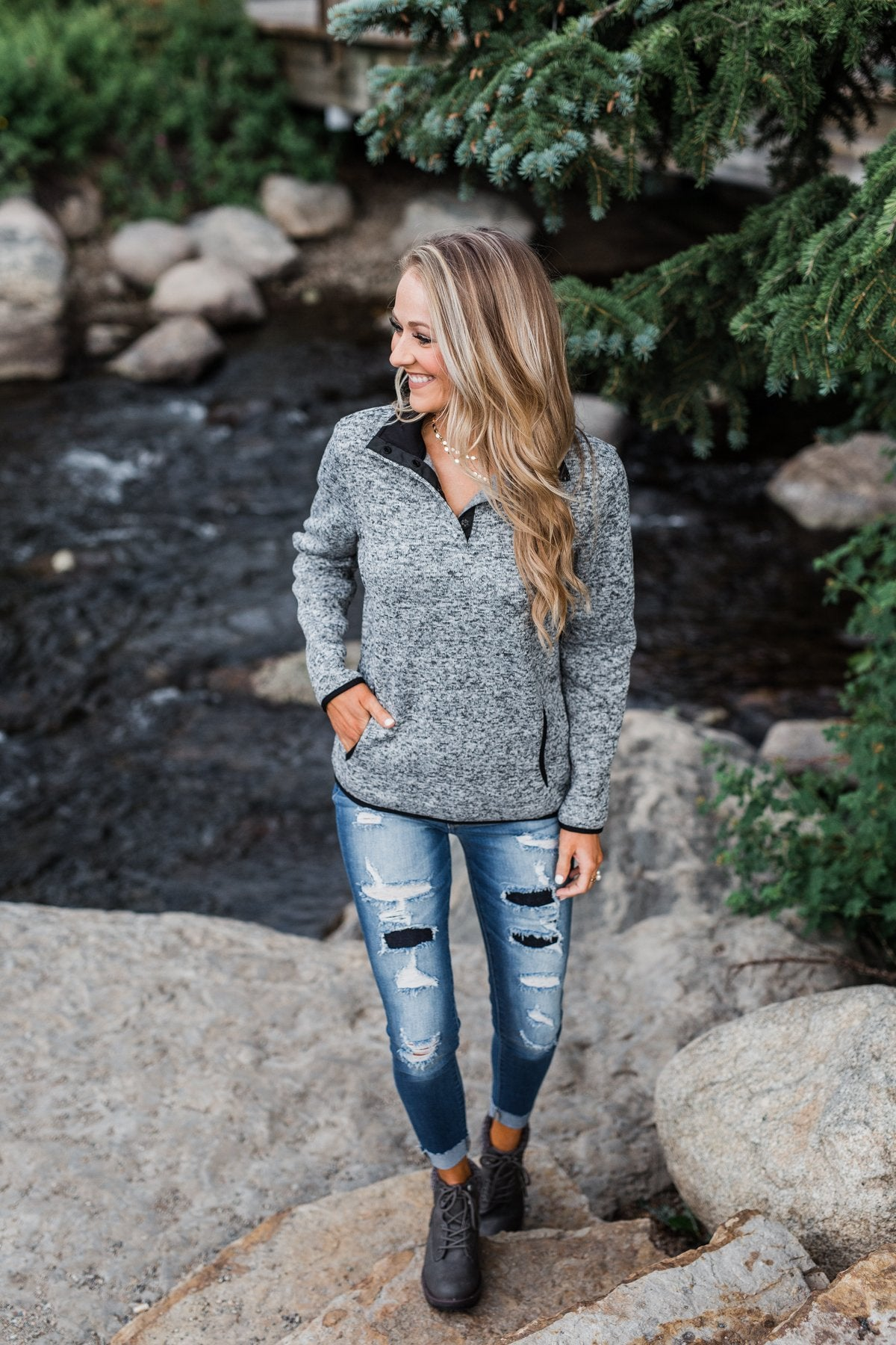 Pulse Exclusive Quarter Button Pullover- Heather Grey