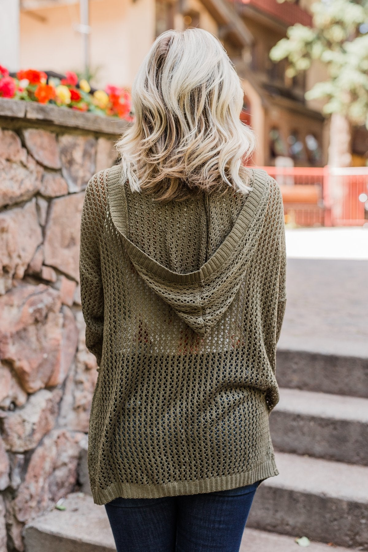 Open Knit Hooded Cardigan- Moss Green