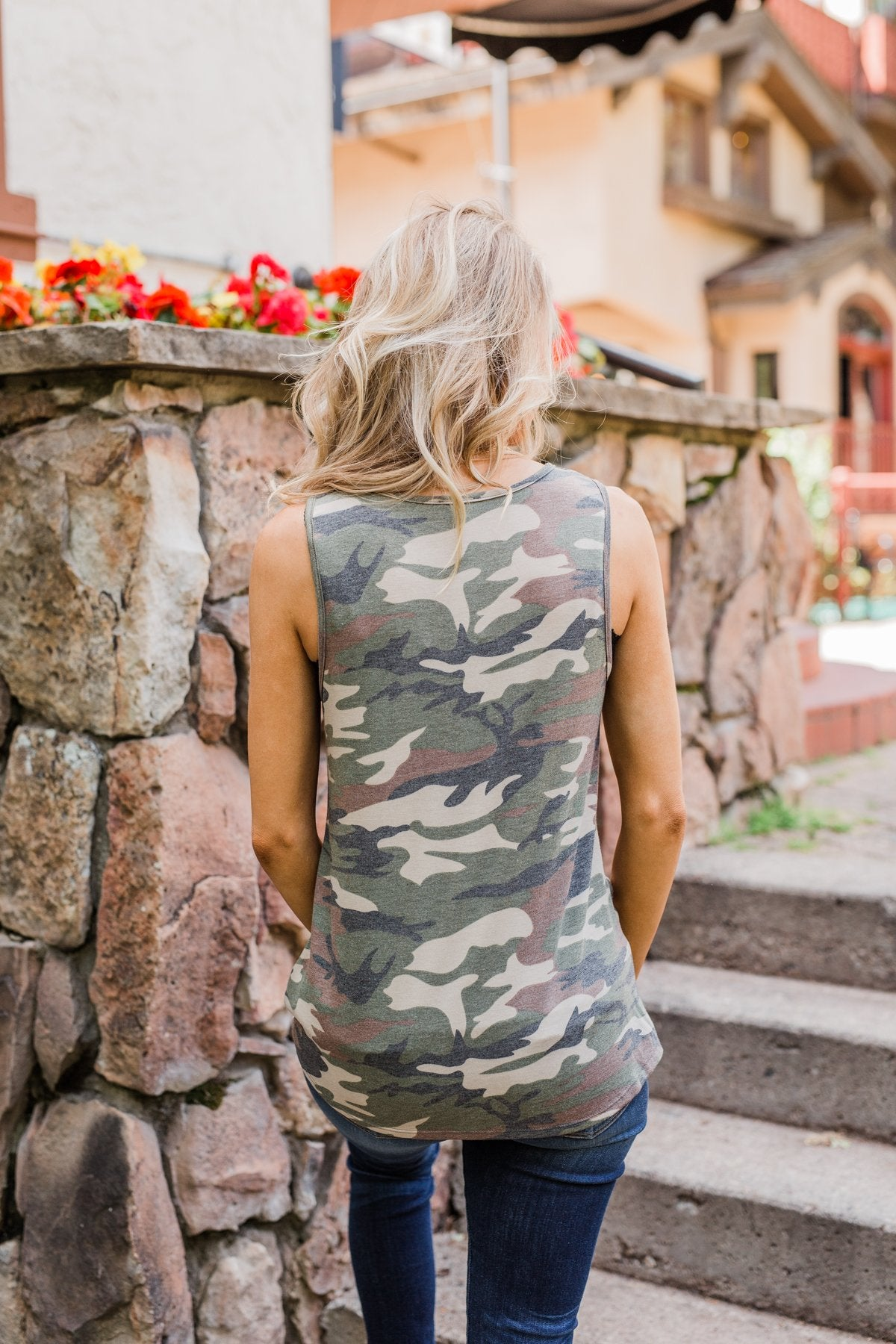 Twist of Camo Keyhole Tank Top