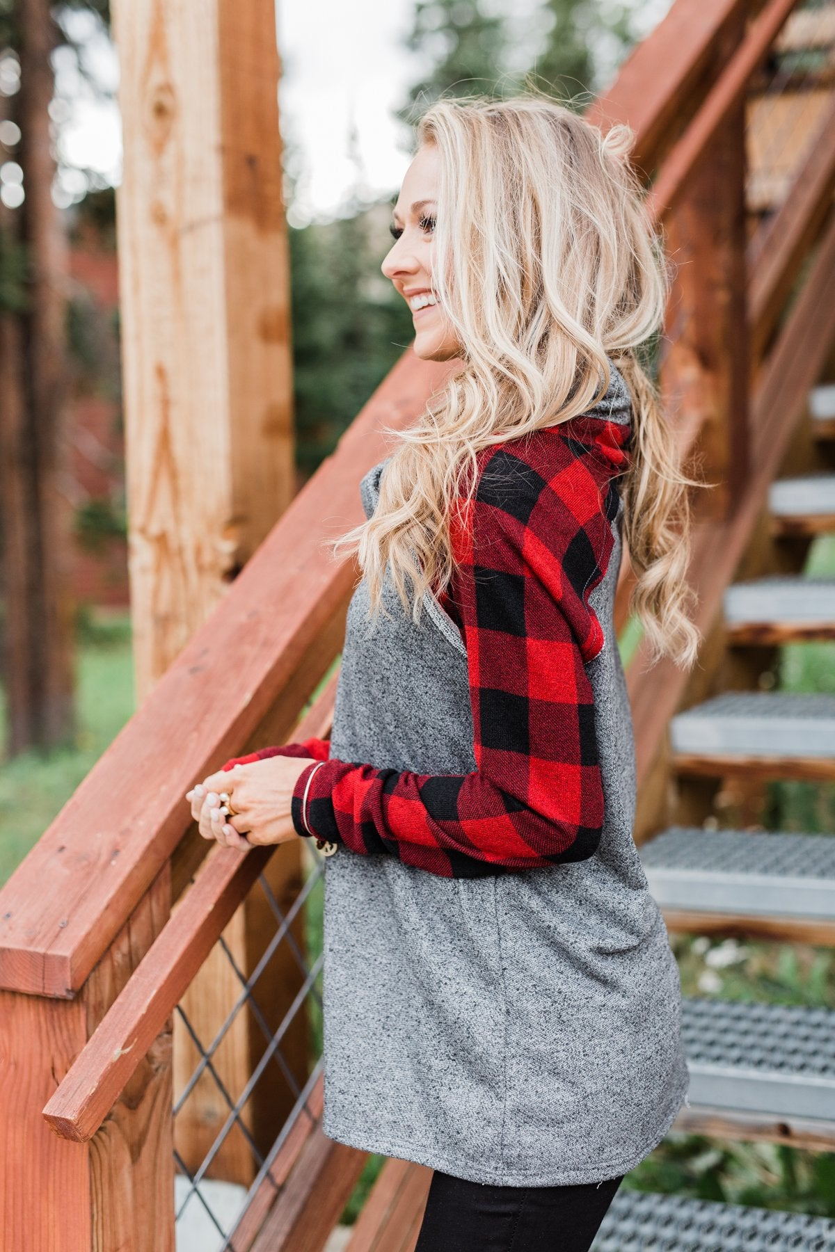 Something About Buffalo Plaid Cowl Neck Top- Grey