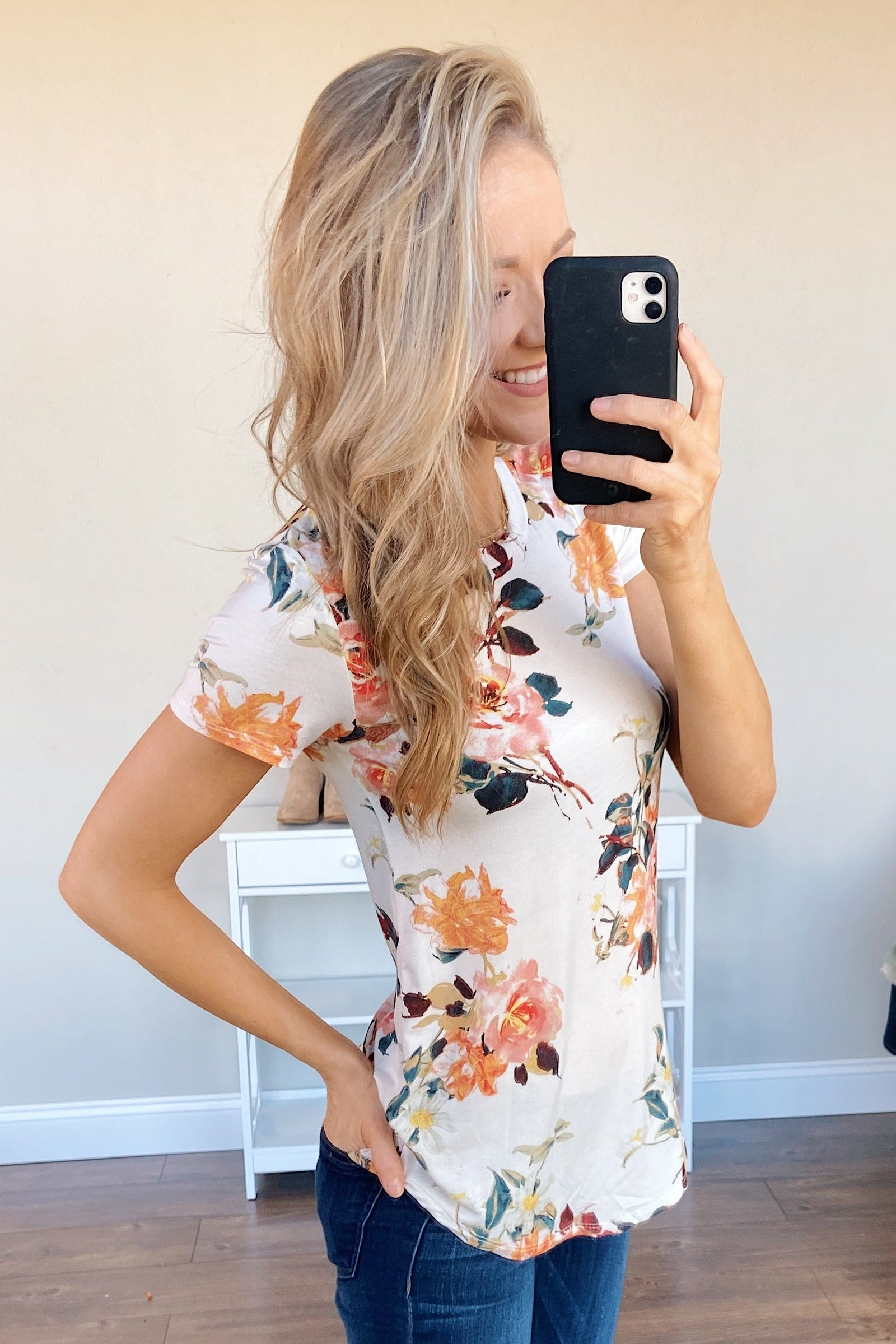 Autumn Breeze Floral Top- Ivory