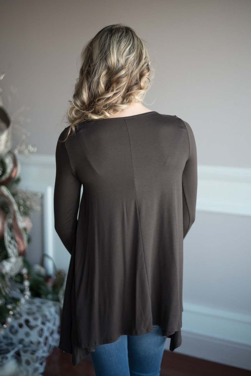 Sparkle Pocket Top ~ Brown