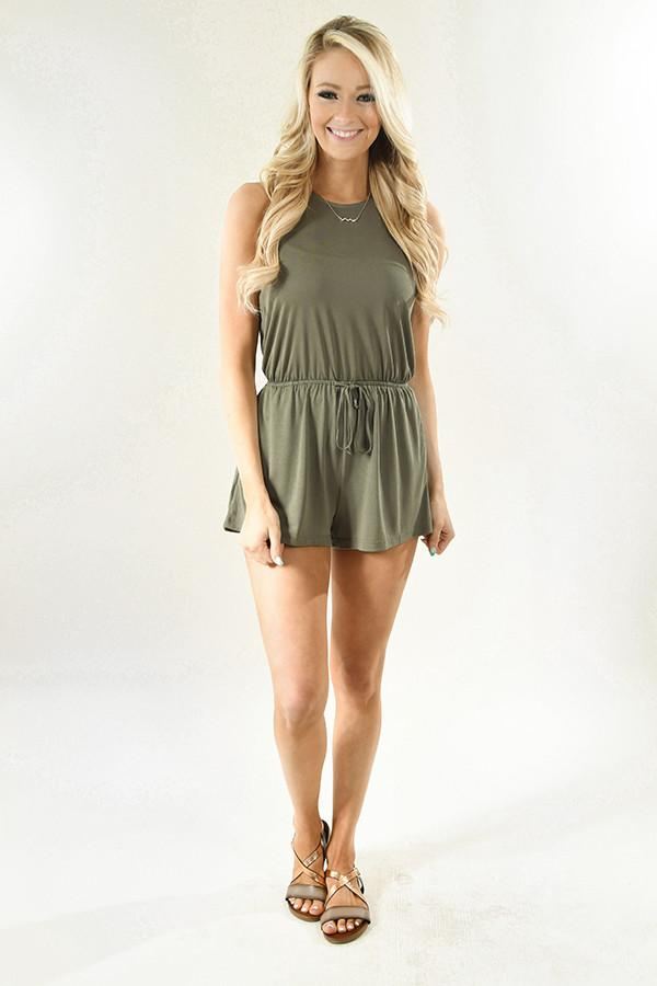Light Olive Drawstring Romper
