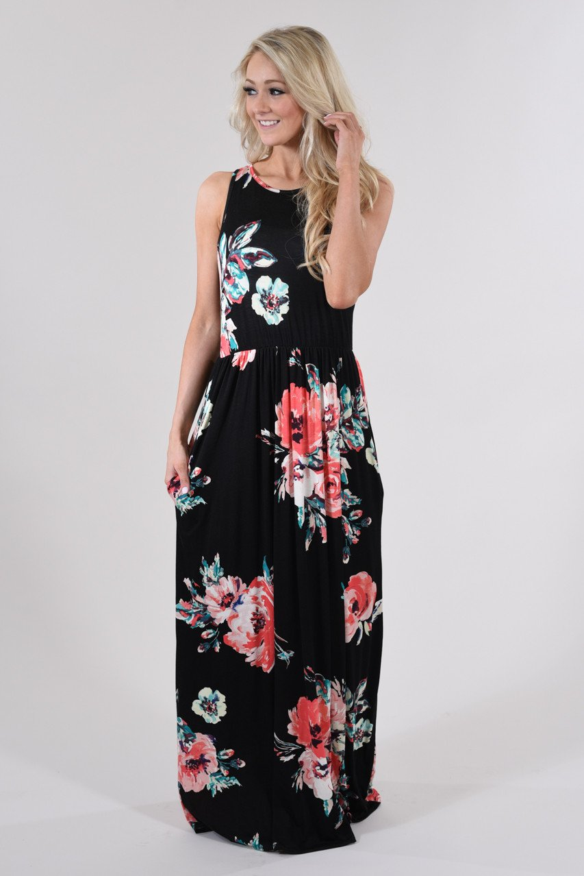 Cherished Love Black Floral Maxi Dress