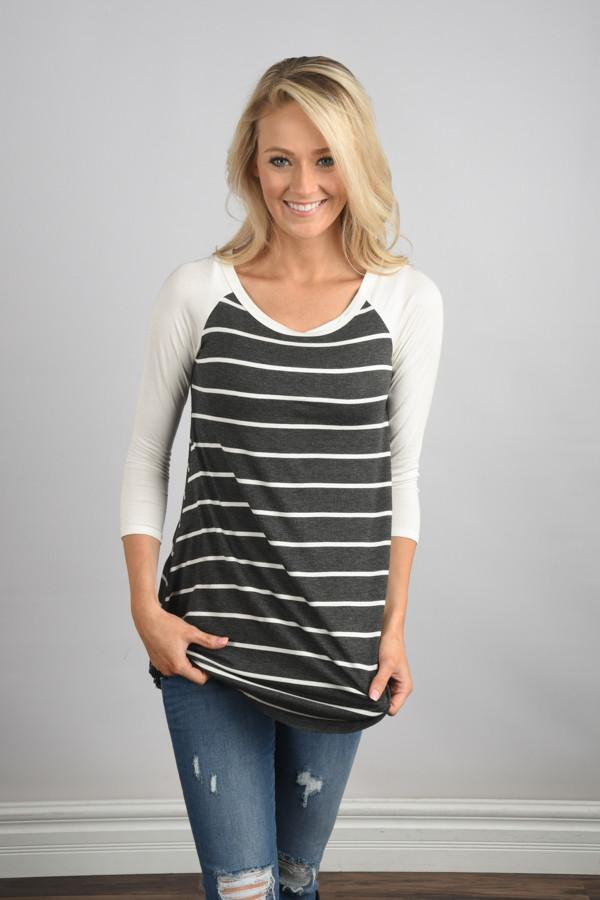 Essential Stripe Top ~ Grey