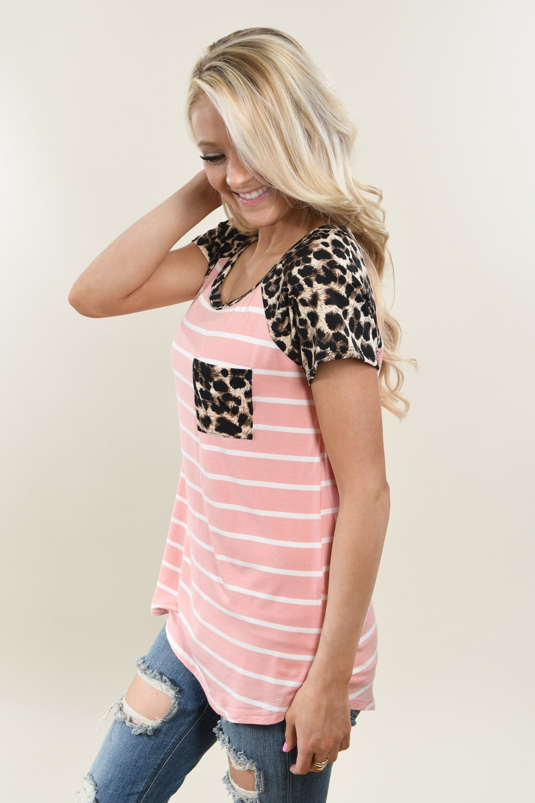 Fierce Leopard Pocket Top ~ Pink