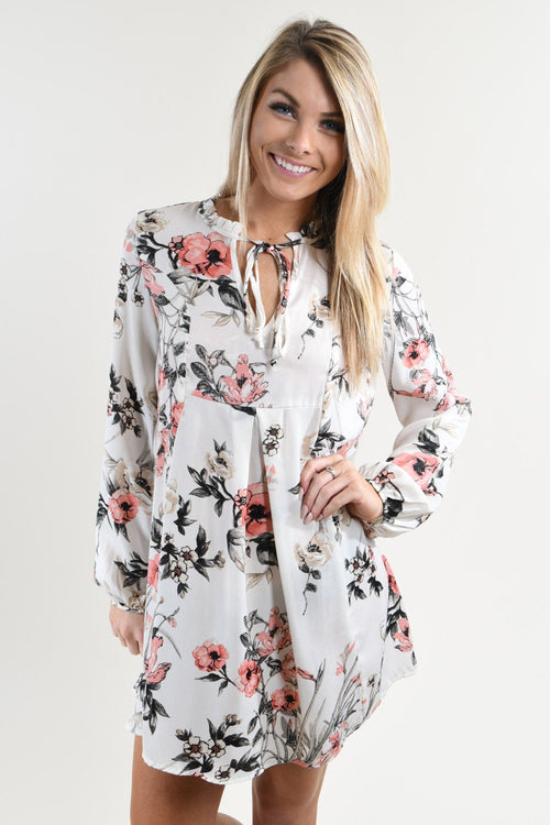 Ivory and Light Coral Floral Dress