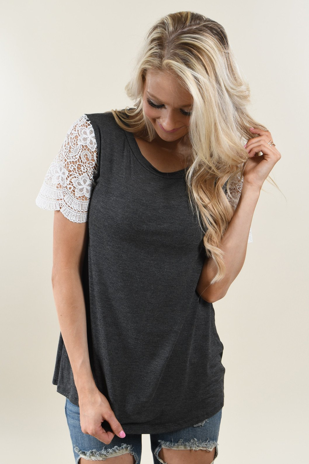 It's All Cool Detail Sleeve Top ~ Charcoal
