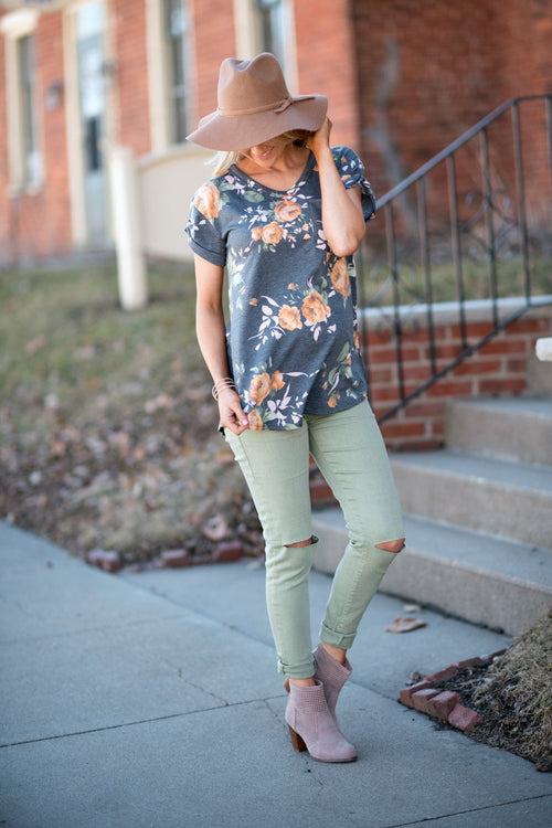Charcoal and Yellow Floral Top