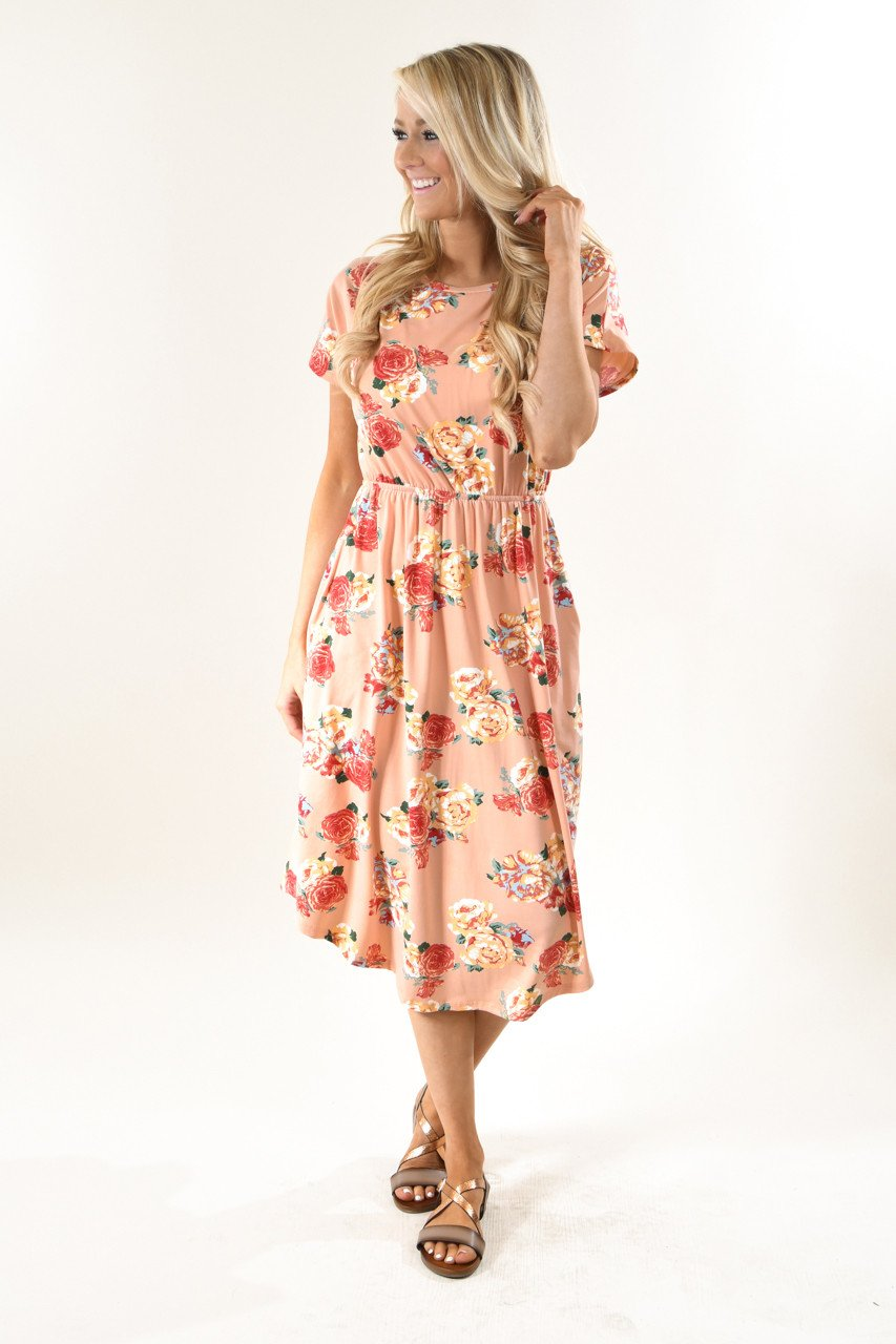 Fields of Peaches Floral Midi Dress