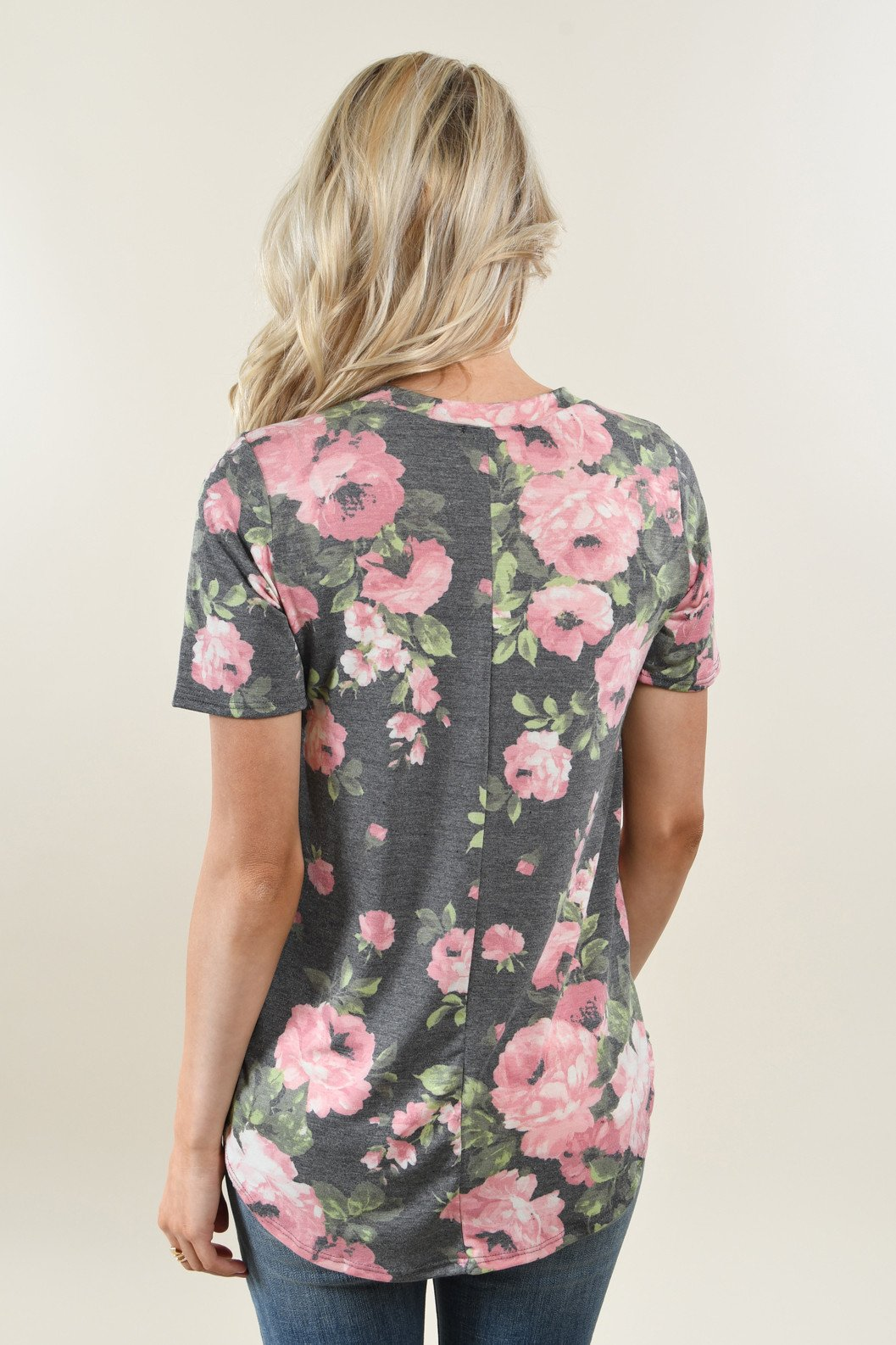 Yours Truly Floral V-Neck Charcoal